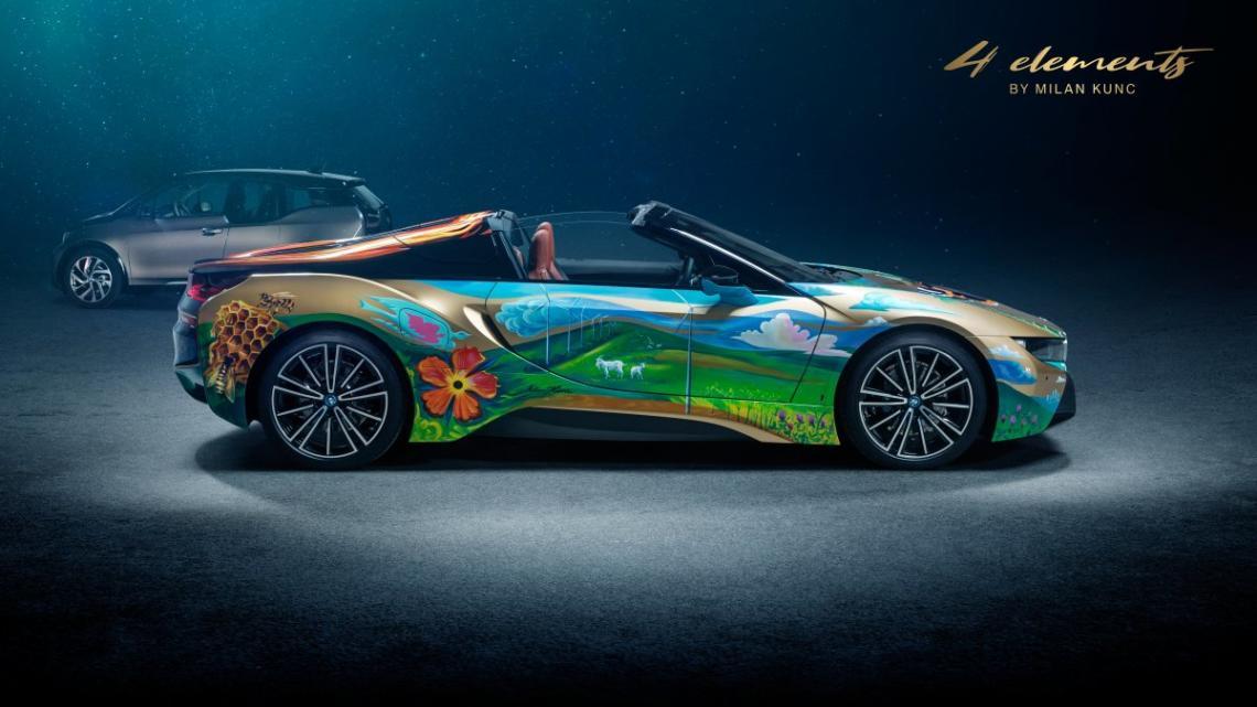 Český importér BMW představil i8 s malbami Milana Kunce. Má pomoci vyčistit oceány od plastů